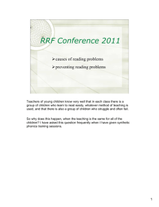 RRF Conference 2011 - preventing reading problems