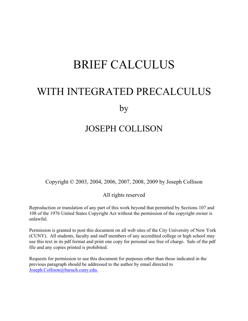 Brief Calculus With Integrated Precalculus By