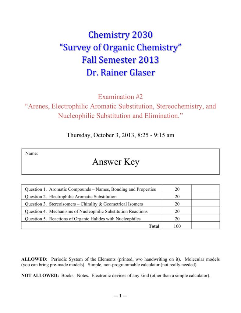 "Chemistry 2030 ""Survey of Organic Chemistry"" Fall Semester 2013"