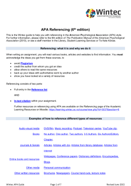 APA Referencing (6th edition)
