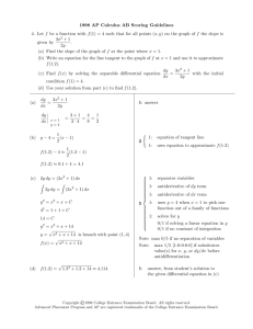 1998 AP Calculus AB Scoring Guidelines 4. Let f be a function with f(1)