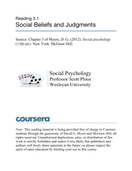 Social Beliefs and Judgments