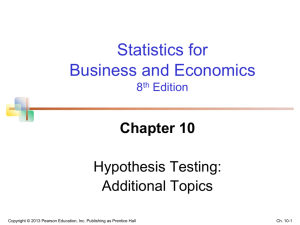 ch.10 – Hypothesis Testing. Additional Topics (Newbold