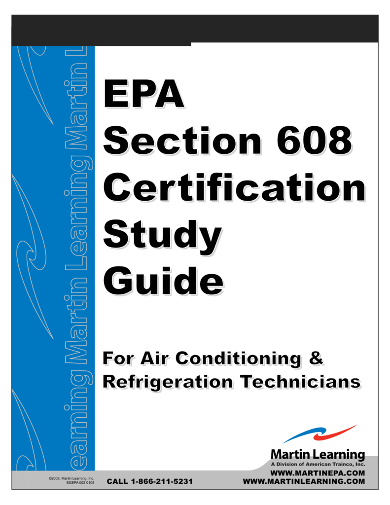 Epa Epa Section 608 Certification Certification Study Guide Epa