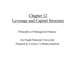 Chapter 12 Leverage and Capital Structure - An