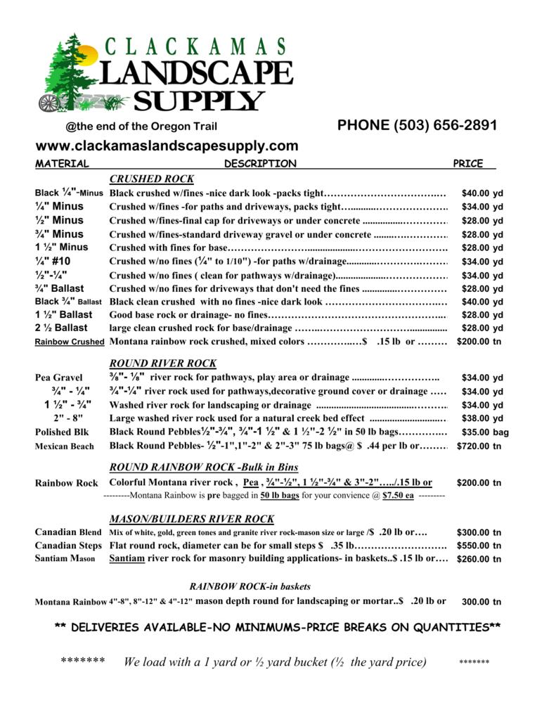 Price List Clackamas Landscape Supply