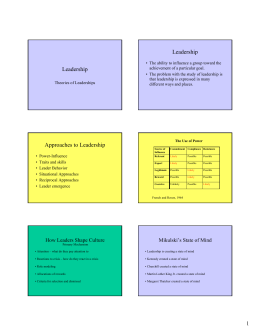 Leadership Leadership Approaches to Leadership