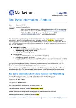 Tax Table Information - Federal