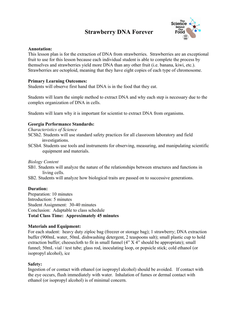 strawberry dna extraction lab report introduction