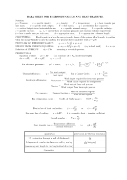 DATA SHEET FOR THERMODYNAMICS AND HEAT TRANSFER