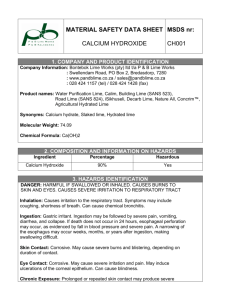 MATERIAL SAFETY DATA SHEET CALCIUM HYDROXIDE MSDS