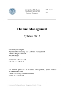 course syllabus - Department of Retailing and Customer Management