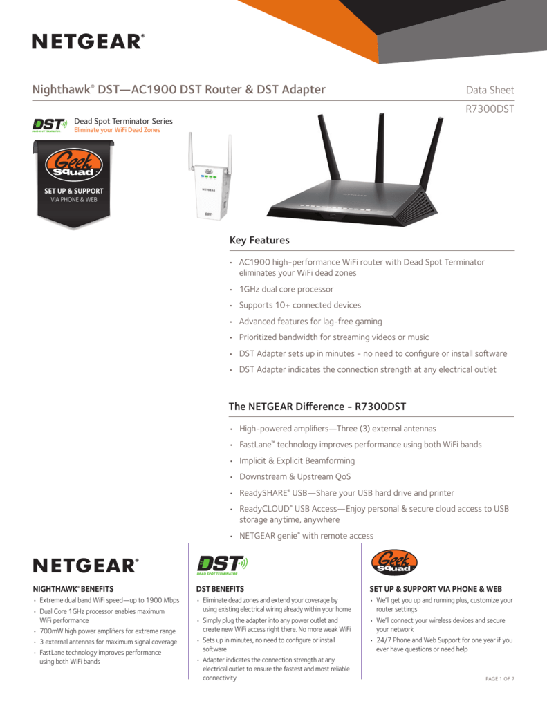 Nighthawk® DST—AC1900 DST Router & DST Adapter