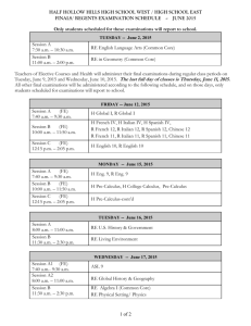 to view and the HS East 2015 Final Exam Schedule in