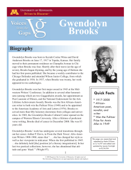 the mother gwendolyn brooks research paper Gwendolyn brooks successes although gwendolyn brooks may have struggled being a black woman, she succeeded in becoming a black, american woman poet and influencing black people of all times the mother the mother by gwendolyn brooks is a poem that deals with abortion.