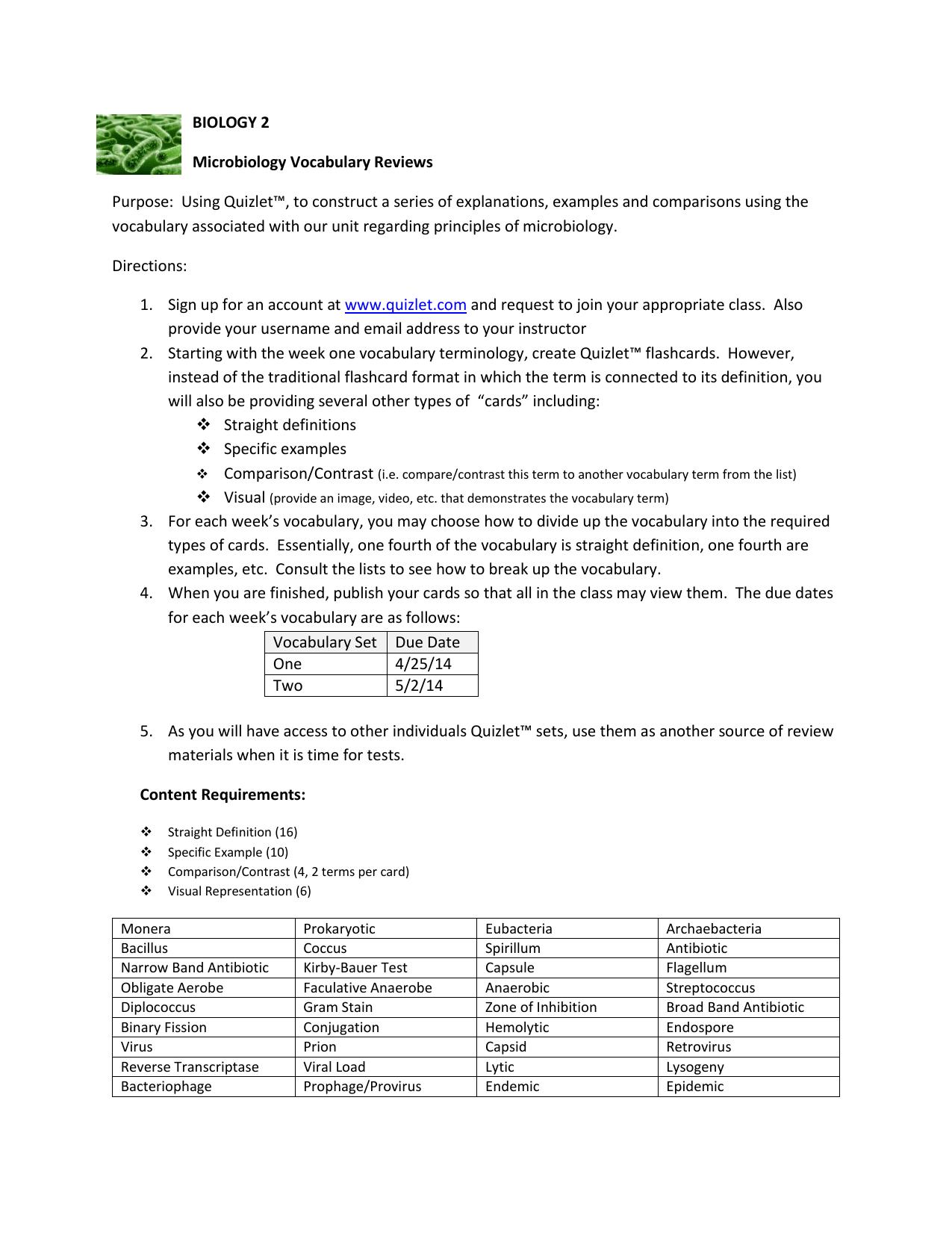 BIOLOGY 2 Microbiology Vocabulary Reviews Purpose: Using