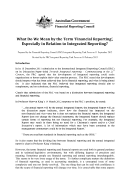 What do we Mean by the Term 'Financial Reporting', Especially in