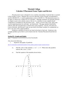 Review Exercises for Calculus I Placement Exam