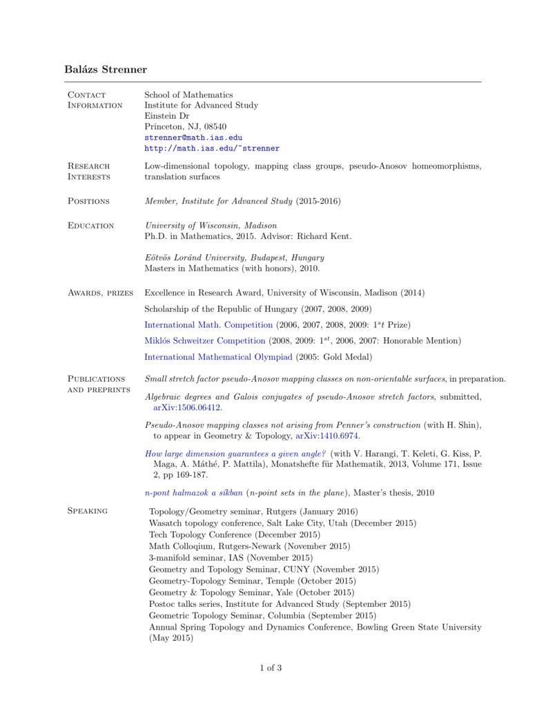 CV - IAS - Institute for Advanced Study