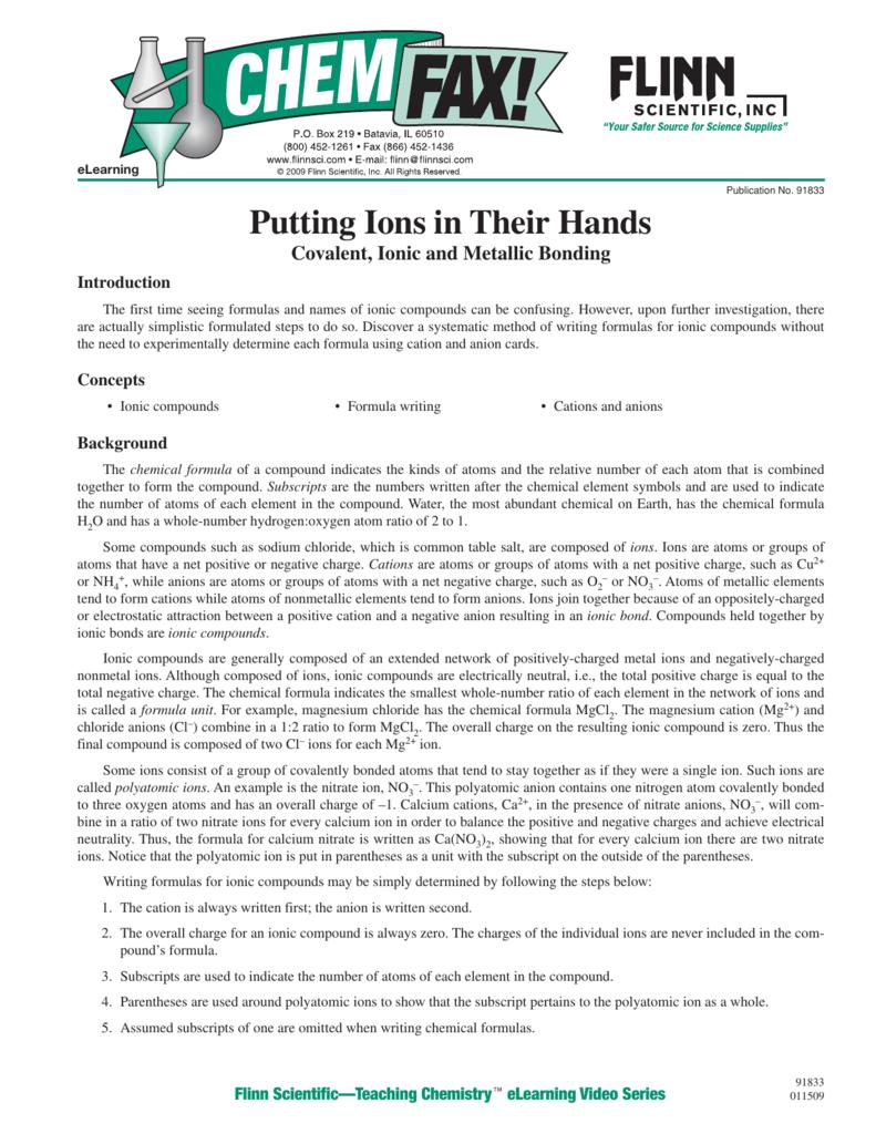 91833 Putting Ions in Their Hands – Metallic Bonding Worksheet