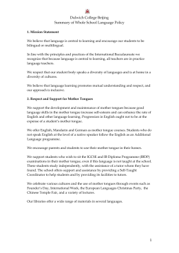 Dulwich College Beijing Summary of Whole School Language Policy 1