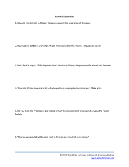 Essential Questions Handout - The Gilder Lehrman Institute of