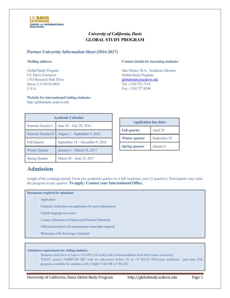 Uc Davis Academic Calendar.Admission