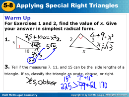 5-8 Applying Special Right Triangles 5