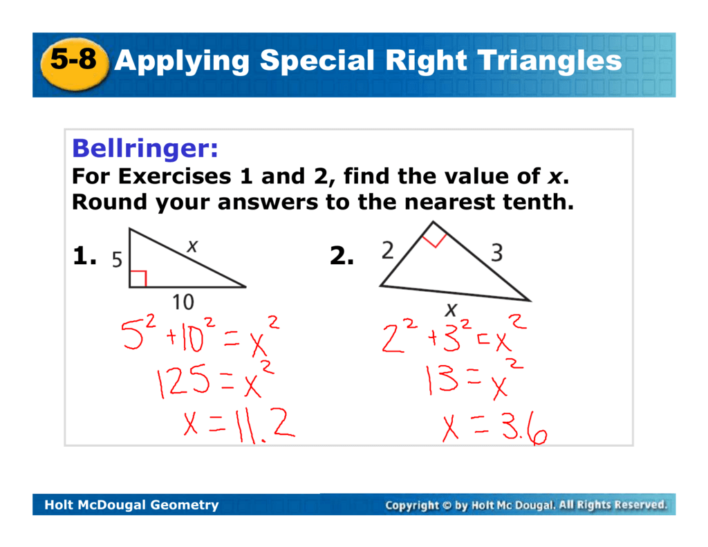 5-8 Applying Special Right Triangles