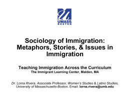 Sociology of Immigration - The Immigrant Learning Center