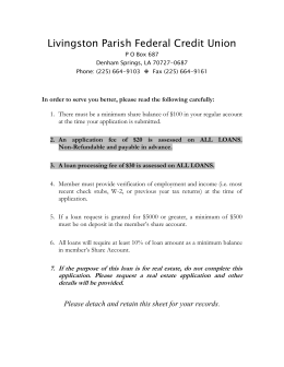 Loan Application - Livingston Parish Federal Credit Union