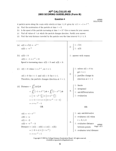 AP@ CALCULUS AB 2003 SCORING GUIDELINES (Form B) (b) 43