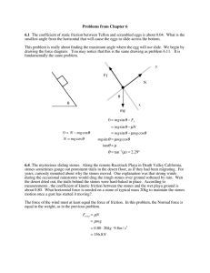 Problems from Chapter 6 6.1 The coefficient of static friction between