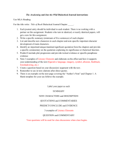 The Awakening and Into the Wild Dialectical Journal instructions