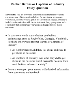 dbq rubric grading sheet robber barons or captains of industry essay question directions