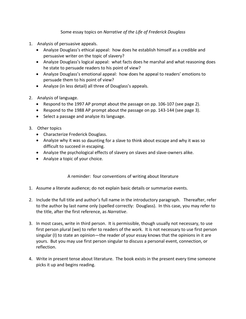Worksheets Frederick Douglass Worksheet some essay topics on narrative of the life frederick douglass 1