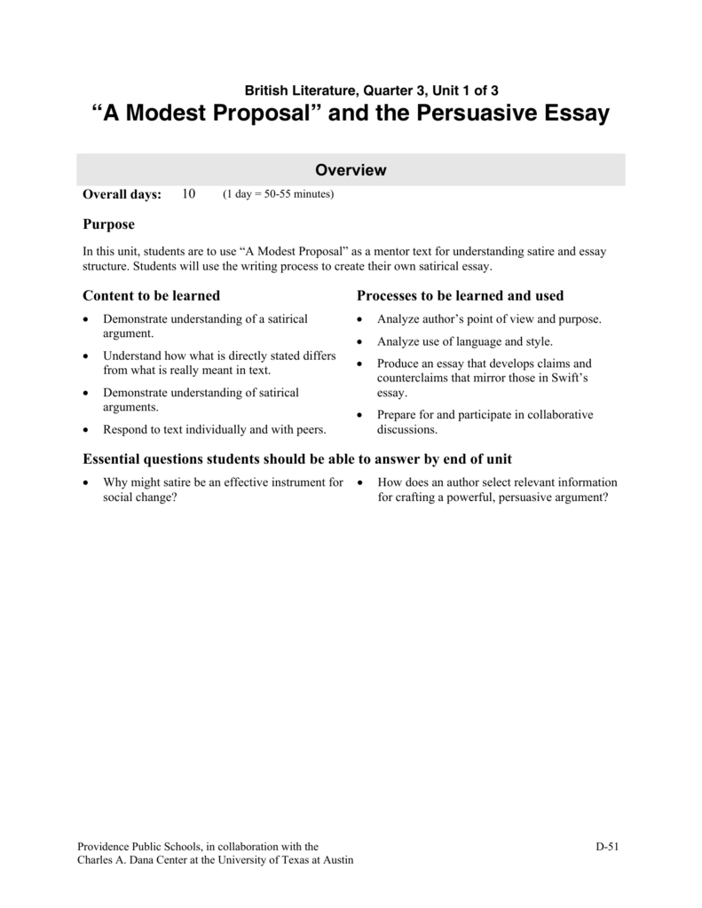 A Modest Proposal And The Persuasive Essay A Modest Proposal And The Persuasive Essay