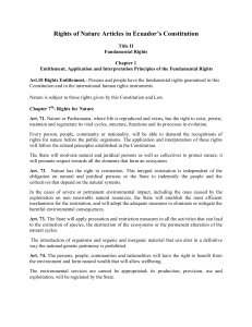 Rights of Nature Articles in Ecuador's Constitution