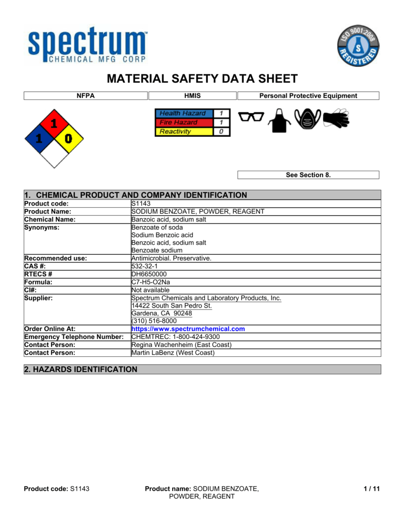 MSDS - Spectrum Chemical