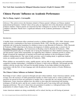 Chinese Parents' Influence on Academic Performance