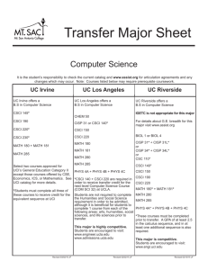 Transfer Major Sheet