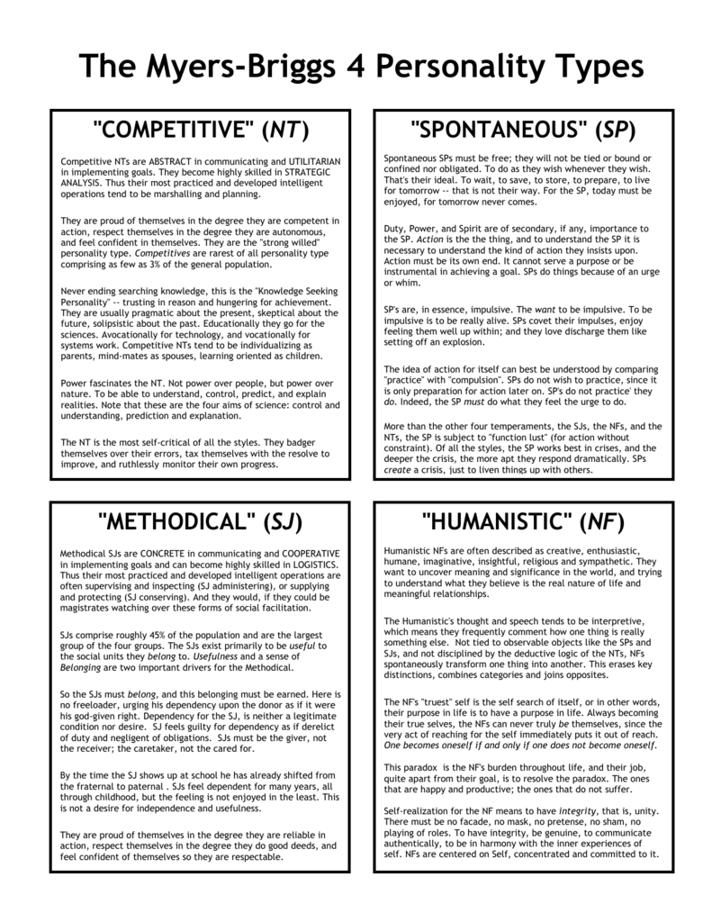 The Myers-Briggs 4 Personality Types
