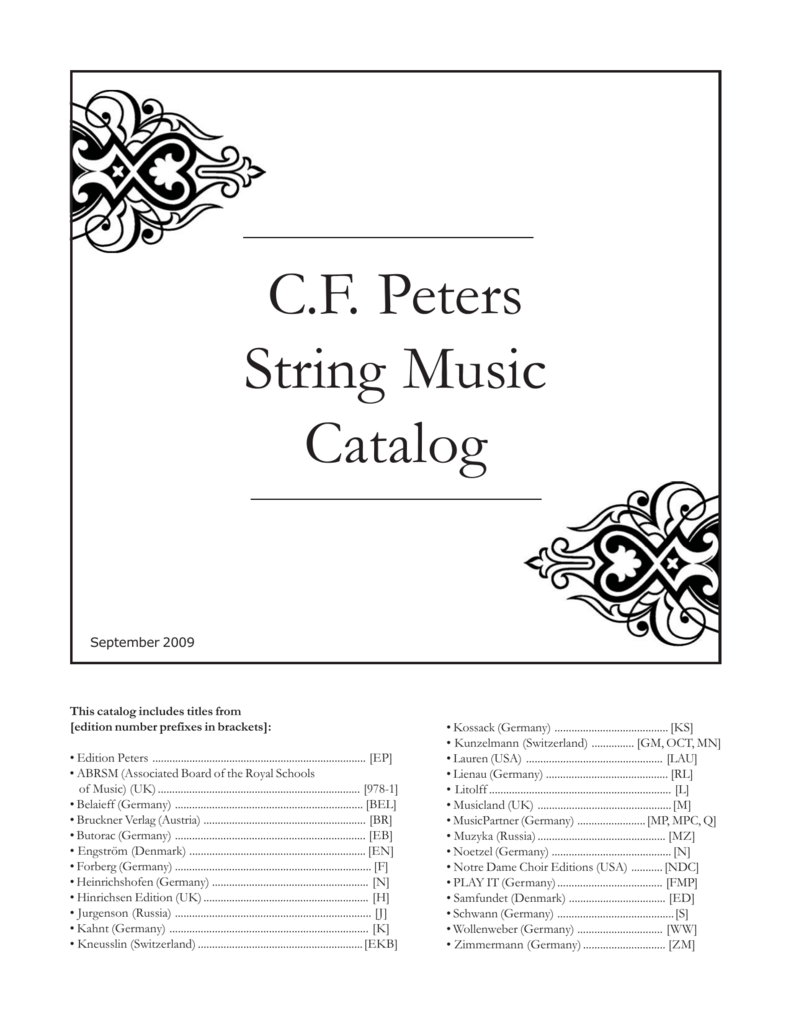 C F  Peters Corporation String Music Catalog 2009