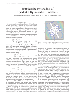 Semidefinite Relaxation of Quadratic Optimization Problems