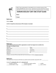 HONORS BIOLOGY UNIT ONE STUDY GUIDE