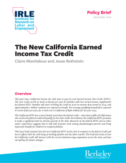 The New California Earned Income Tax Credit