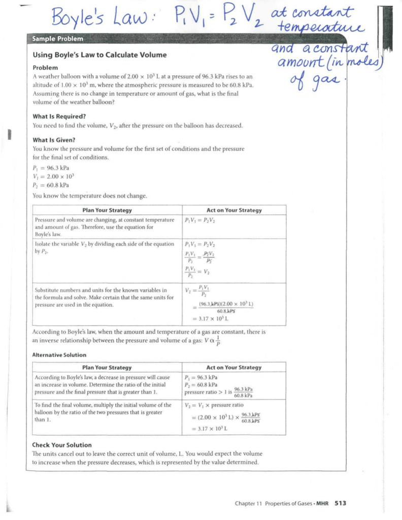 Sample Problem Using Boyle S Law To Calculate Volume
