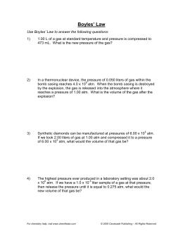 Ideal Gas Law Worksheet PV = nRT