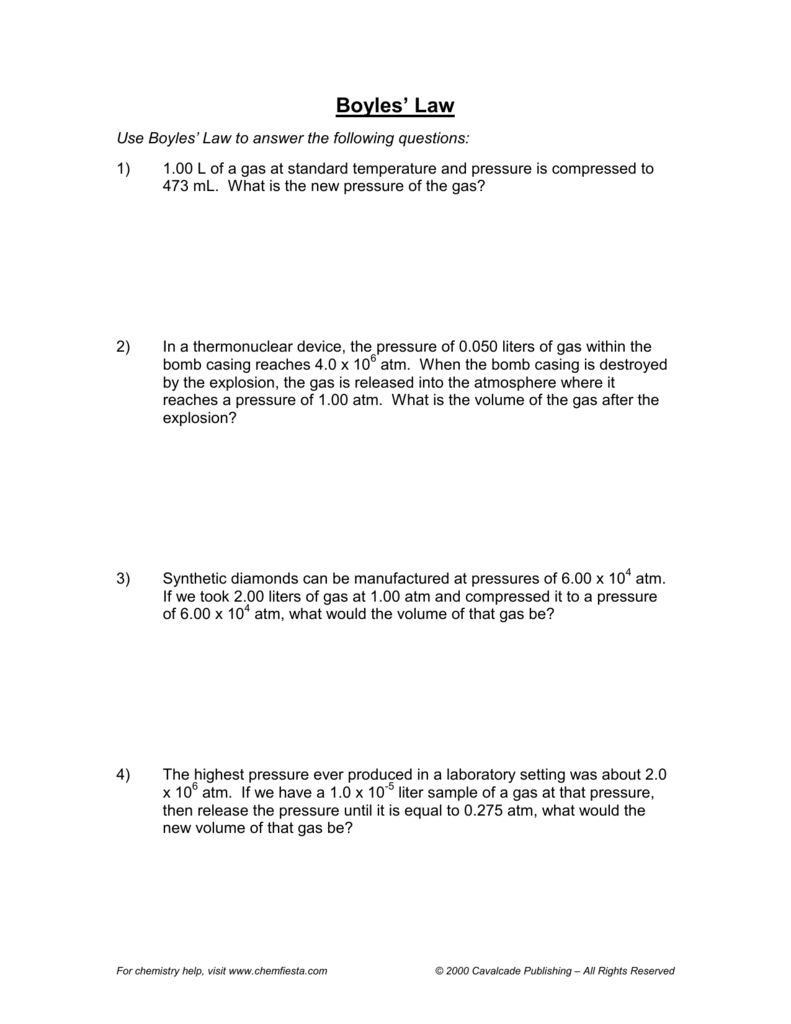 Worksheets Combined Gas Law Worksheet boyles law