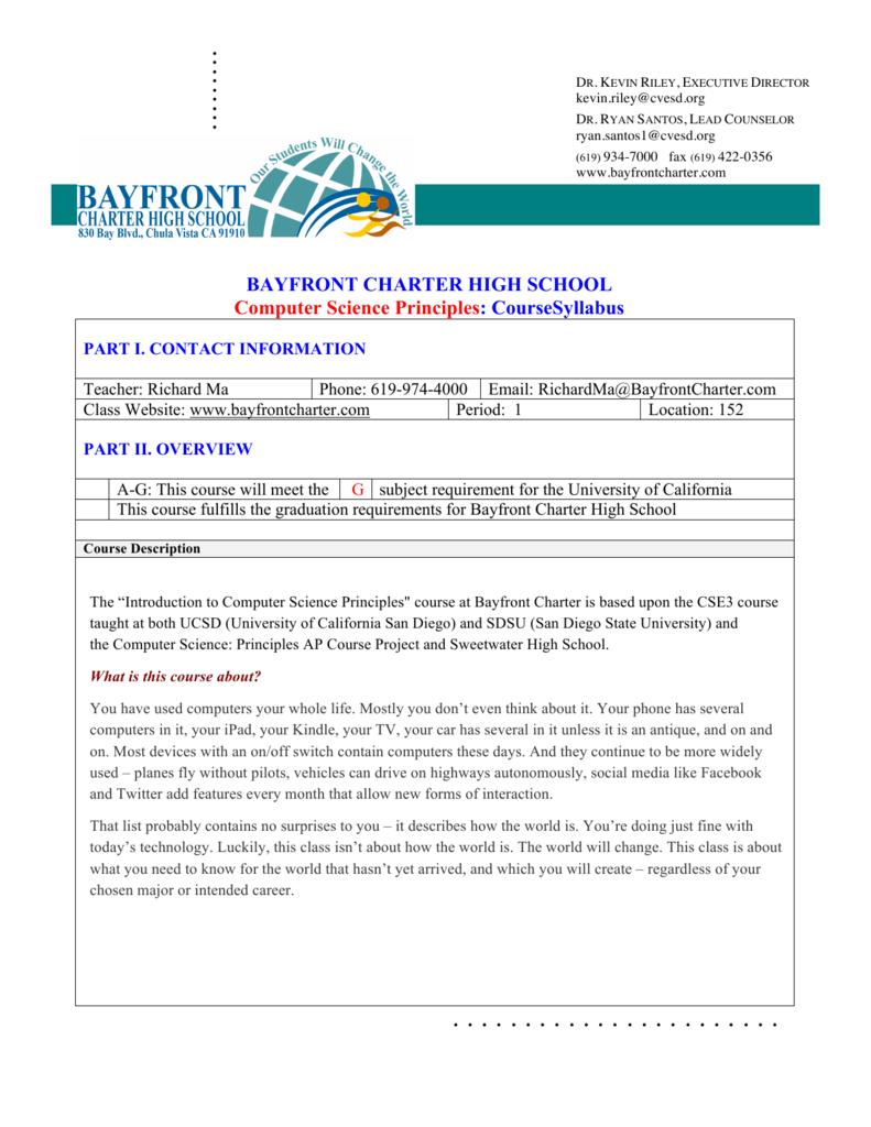 Course Syllabus - Bayfront Charter High School